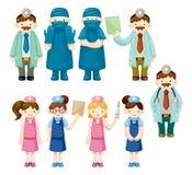 Iconos del doctor y de la enfermera de la historieta Imagen de archivo libre de regalías