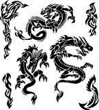 Iconos del dragón del vector Fotografía de archivo libre de regalías
