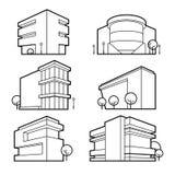 Iconos del edificio de oficinas Imagenes de archivo