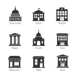 Iconos del edificio del gobierno libre illustration
