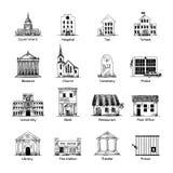 Iconos del edificio del gobierno fijados Foto de archivo libre de regalías