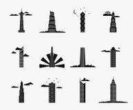 Iconos del edificio del rascacielos Fotos de archivo
