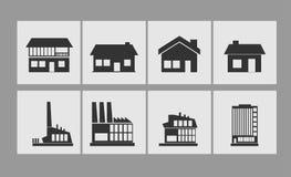 Iconos del edificio fijados Foto de archivo libre de regalías