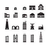 Iconos del edificio fijados Fotografía de archivo