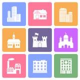 Iconos del edificio fijados Imágenes de archivo libres de regalías