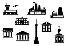Iconos del edificio fijados Imagen de archivo