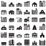 Iconos del edificio fijados Imagenes de archivo