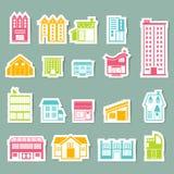 Iconos del edificio fijados Foto de archivo