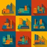 Iconos del edificio industrial fijados Fotos de archivo libres de regalías