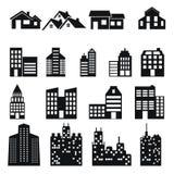 Iconos del edificio y de la casa fijados Fotos de archivo