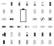Iconos del ejemplo del vector de la batería fijados fotos de archivo