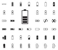 Iconos del ejemplo del vector de la batería fijados Fotografía de archivo