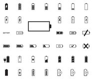Iconos del ejemplo del vector de la batería fijados imagenes de archivo