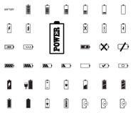 Iconos del ejemplo del vector de la batería fijados imágenes de archivo libres de regalías
