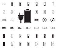 Iconos del ejemplo del vector de la batería fijados imagen de archivo