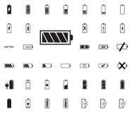 Iconos del ejemplo del vector de la batería fijados foto de archivo