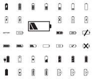 Iconos del ejemplo del vector de la batería fijados foto de archivo libre de regalías