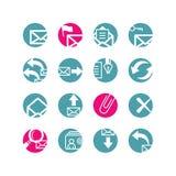 Iconos del email del círculo Stock de ilustración
