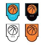 Iconos del emblema del baloncesto fijados Imagen de archivo libre de regalías
