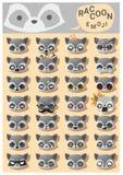 Iconos del emoji del mapache stock de ilustración