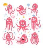 Iconos del Emoticon del pulpo con la historieta linda divertida Marine Animal Characters In Love y expresión de diversas emocione ilustración del vector