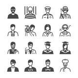 Iconos del empleo fijados ilustración del vector