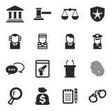 Iconos del ensayo del tribunal Imágenes de archivo libres de regalías