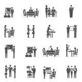 Iconos del entrenamiento del negocio fijados stock de ilustración