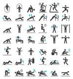 Iconos del entrenamiento del ejercicio de la aptitud fijados stock de ilustración