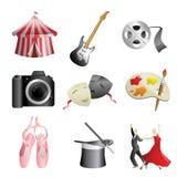 Iconos del entretenimiento de los artes Imagen de archivo