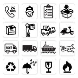 Iconos del envío imagen de archivo
