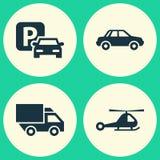 Iconos del envío fijados Colección de señal de tráfico, de interruptor, de automóvil y de otros elementos También incluye símbolo libre illustration