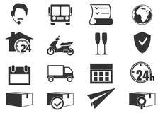 Iconos del envío y de la entrega Foto de archivo libre de regalías