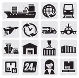 Iconos del envío y del cargo Fotografía de archivo