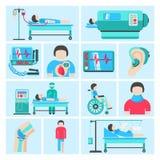 Iconos del equipamiento médico del conectado a una máquina que mantiene las constantes vitales Imagen de archivo