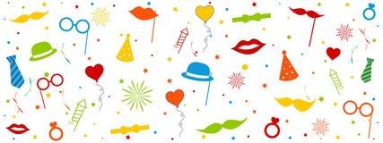 Iconos del equipo del carnaval de la boda de la cabina de la foto con los círculos y las estrellas - ejemplo colorido del vector  stock de ilustración