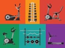 Iconos del equipo de deportes del gimnasio fijados Fotos de archivo
