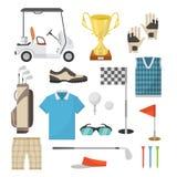 Iconos del equipo de deportes para jugar a golf en un estilo plano Imagen de archivo libre de regalías