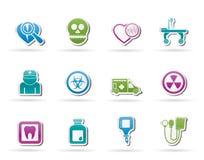 Iconos del equipo de la medicina y del hospital Imágenes de archivo libres de regalías