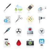 Iconos del equipo de la medicina y del hospital Imagenes de archivo
