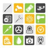 Iconos del equipo de la medicina y del hospital de la silueta Imagen de archivo