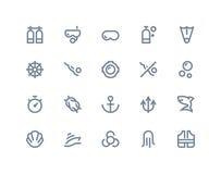Iconos del equipo de submarinismo Línea serie stock de ilustración