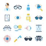 Iconos del equipo del oftalmólogo en un estilo plano Fotografía de archivo libre de regalías