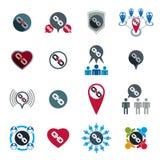 Iconos del equipo y de la cooperación del negocio del trabajo en equipo fijados Fotografía de archivo