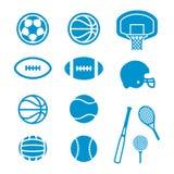 Iconos del equipo y de las bolas de deportes Fotos de archivo libres de regalías