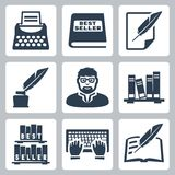 Iconos del escritor del vector fijados Imagen de archivo