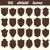 24 iconos del escudo El sistema de diverso escudo forma los iconos, fronteras, stock de ilustración