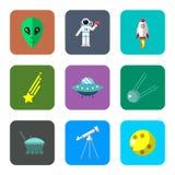 Iconos del espacio fijados Imagen de archivo libre de regalías