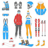 Iconos del esquí y de la snowboard fijados Imagen de archivo libre de regalías