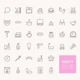Iconos del esquema de la belleza Fotos de archivo libres de regalías